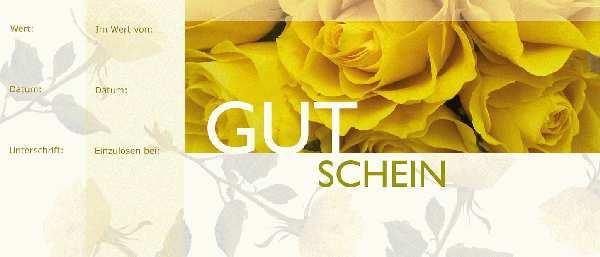 Gutschein gelbe Rosen Bon Block 24,5x10,5cm