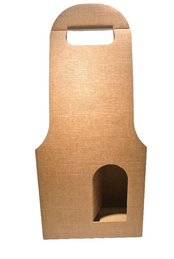 Flaschenverpackung Bag.New HELLBRAUN 18x9x41 2Flaschen