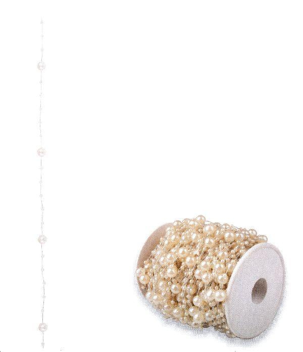Perlenkette Svenja Perlenband CREME 8mm + 3mm Länge: 15m
