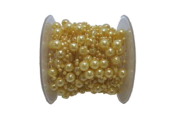 Perlenkette Svenja Perlenband HELLGELB 8mm + 3mm Länge: 15m