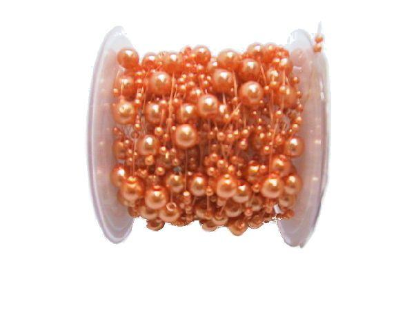 Perlenkette Svenja Perlenband ORANGE 860 8mm + 3mm Länge: 15m