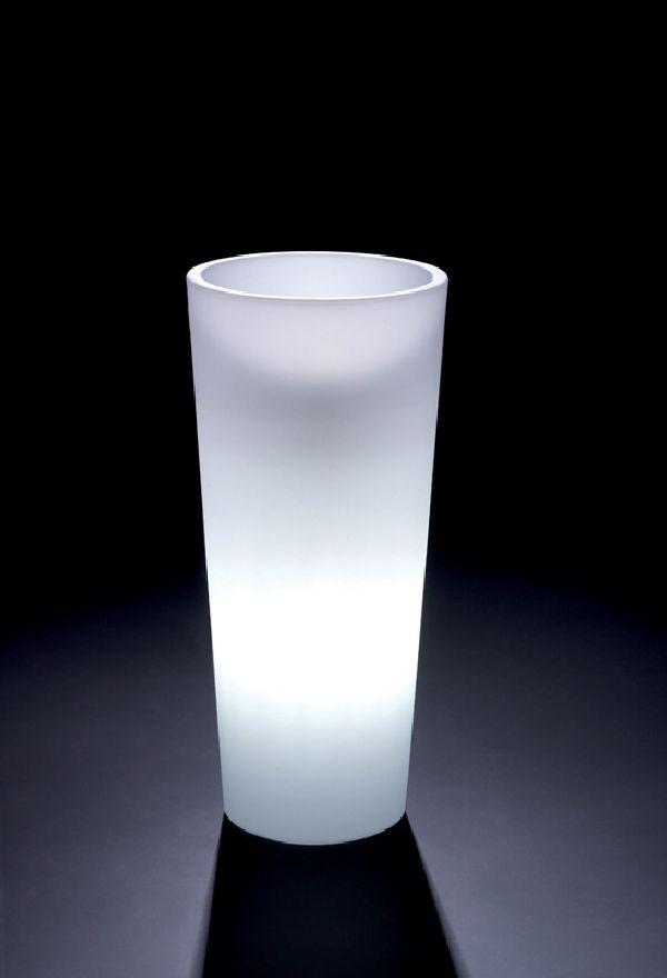 Pflanztopf Genesis m.Einsatz WEISS beleuchtet  indoor D45xH100cm rund