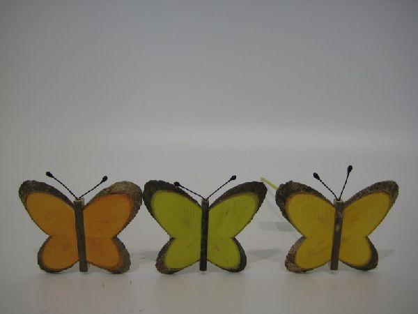 Holztiere am Pick FARB. SORTI. 9cm Schmetterling