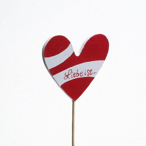 Steckherz Liebe ROT 6,5cm Holz Stiel