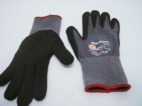 Arbeits-Handschuh GRAU-SCHWARZ Größe 7 rot MaxiFlex