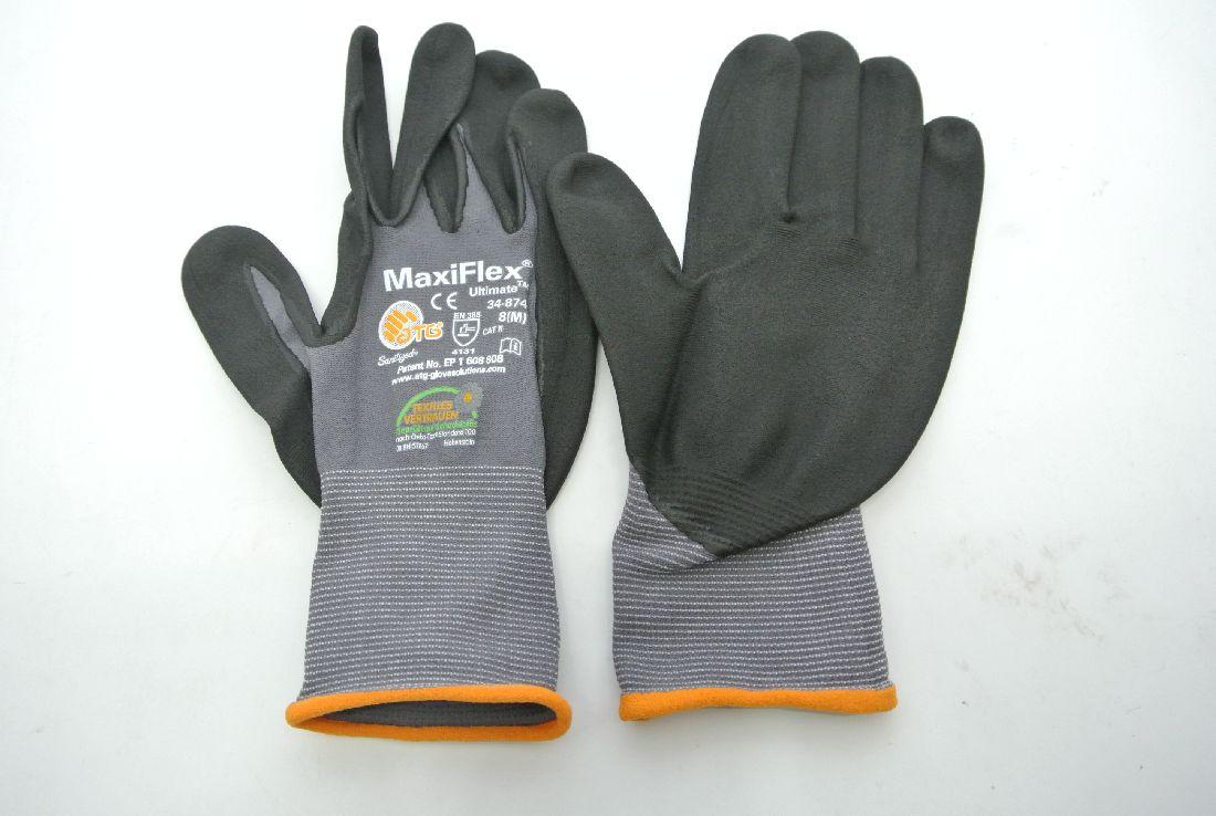 Arbeits-Handschuh GRAU-SCHWARZ Größe 8 MaxiFlex