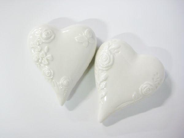 Herz glasiert, Keramik WEISS 42572 12,5cm  2-sort.