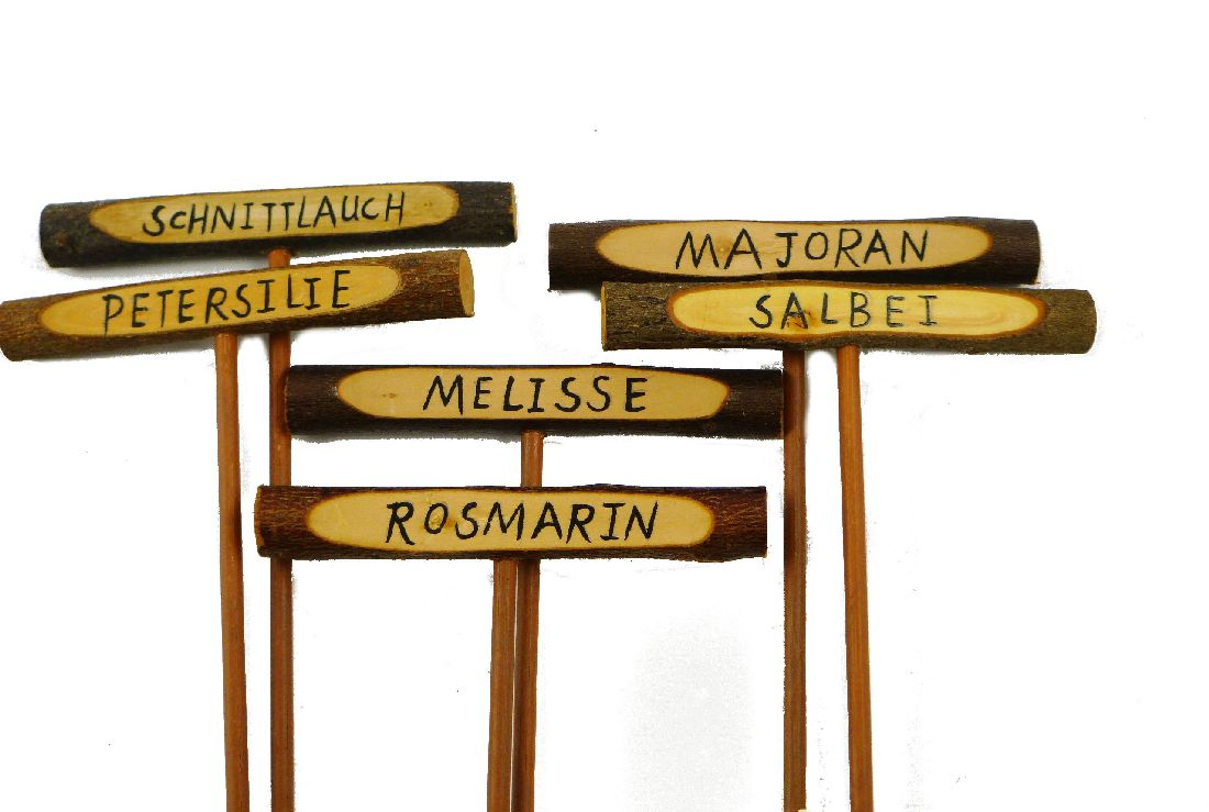 Kräuterstecker, Holz BRAUN 63247 Kräuterschilder 10x24cm 6-fach sortiert