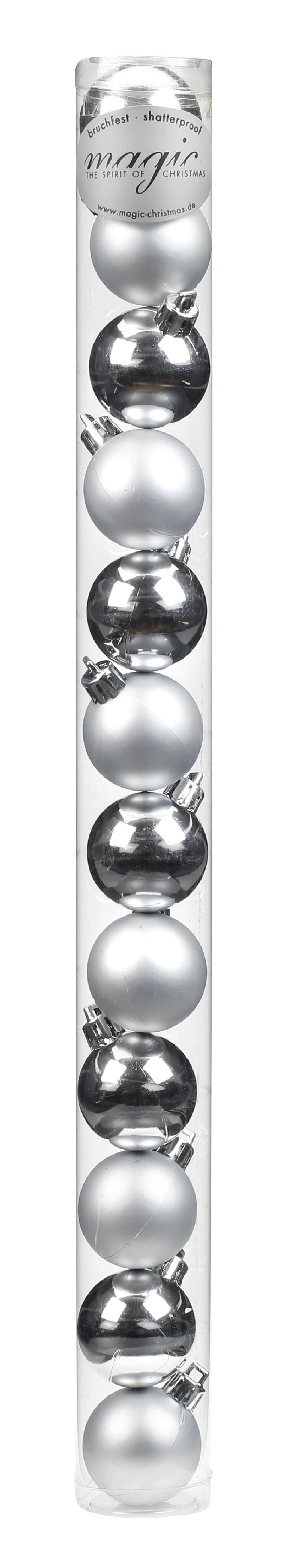Kugel - Kunststoff - bruchfest 12 Stück SILBER 8101202 Ø40mm, Kunststoff