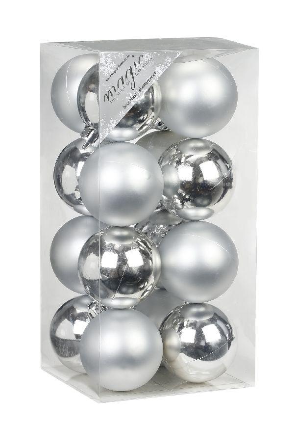 Kugel - Kunststoff - bruchfest 16 Stück SILBER 773102 Ø60mm, Kunststoff