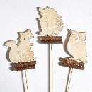 Waldtiere am Pick NATUR 66490 Holz ca.5x8cm Igel/Fuchs/Eule