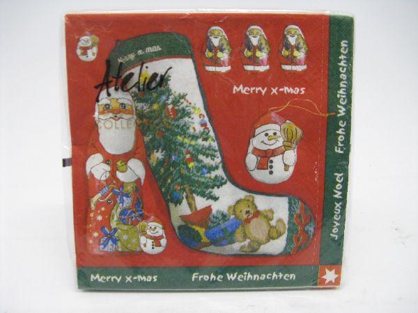 Servietten Weihnachten/Winter ROT-GRÜN Nikolaus mit Socke