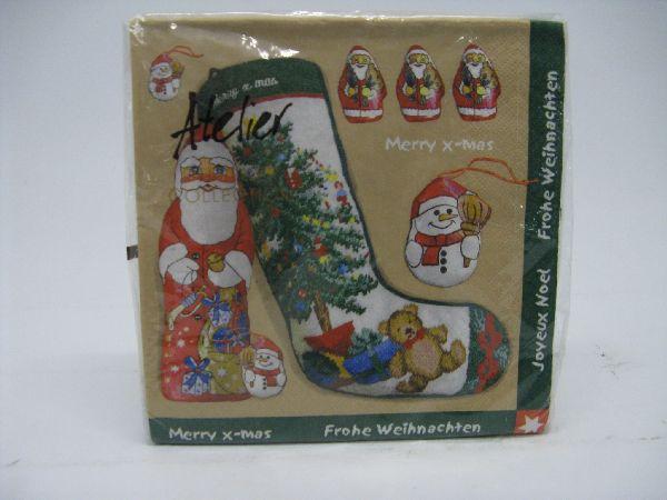Servietten Weihnachten/Winter BRAUN-GRÜN-ROT Nikolaus mit Socke