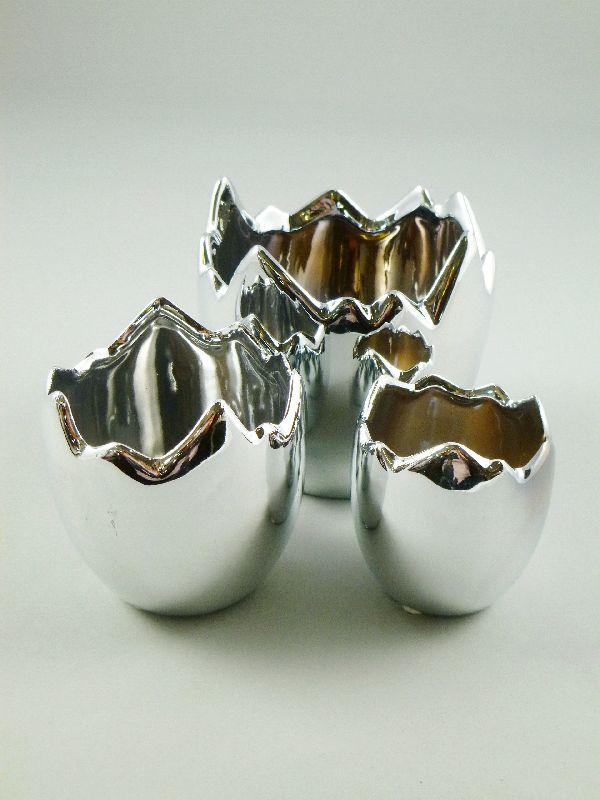 Ei gebroch. Porzellan glasiert SILBER 20906 Set=3Stück stehend,3-teilig 7,5/10/12,5cm