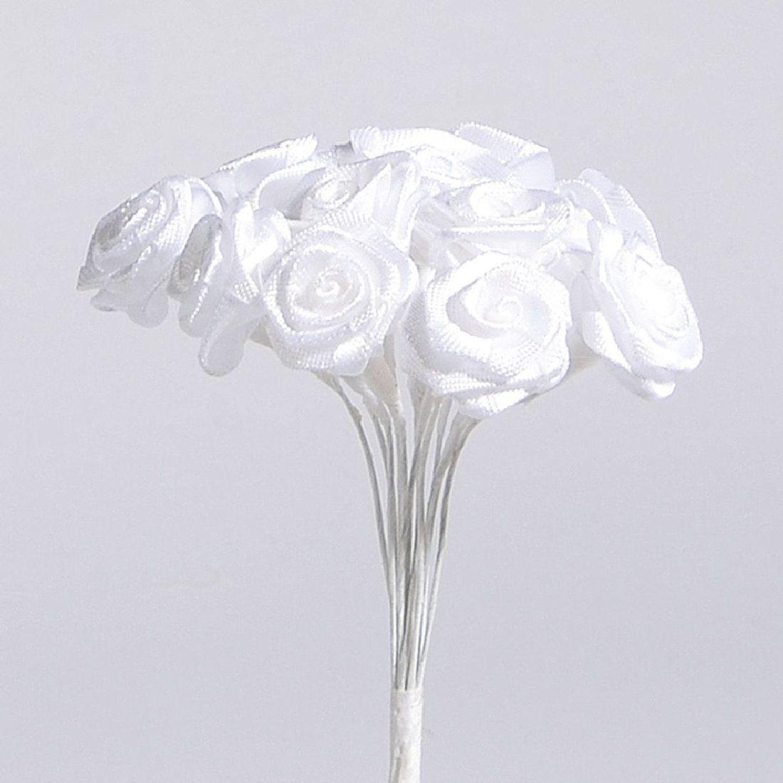 Diorröschen  1Bund=12Blüten WEISS 19011 13609 1,5cm am Stiel (144 Blüten)