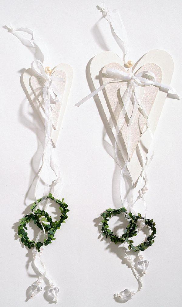 Dekohänger Hochzeit WEISS-GRÜN 97213 Herz,zwei Buchsringe L=45cm
