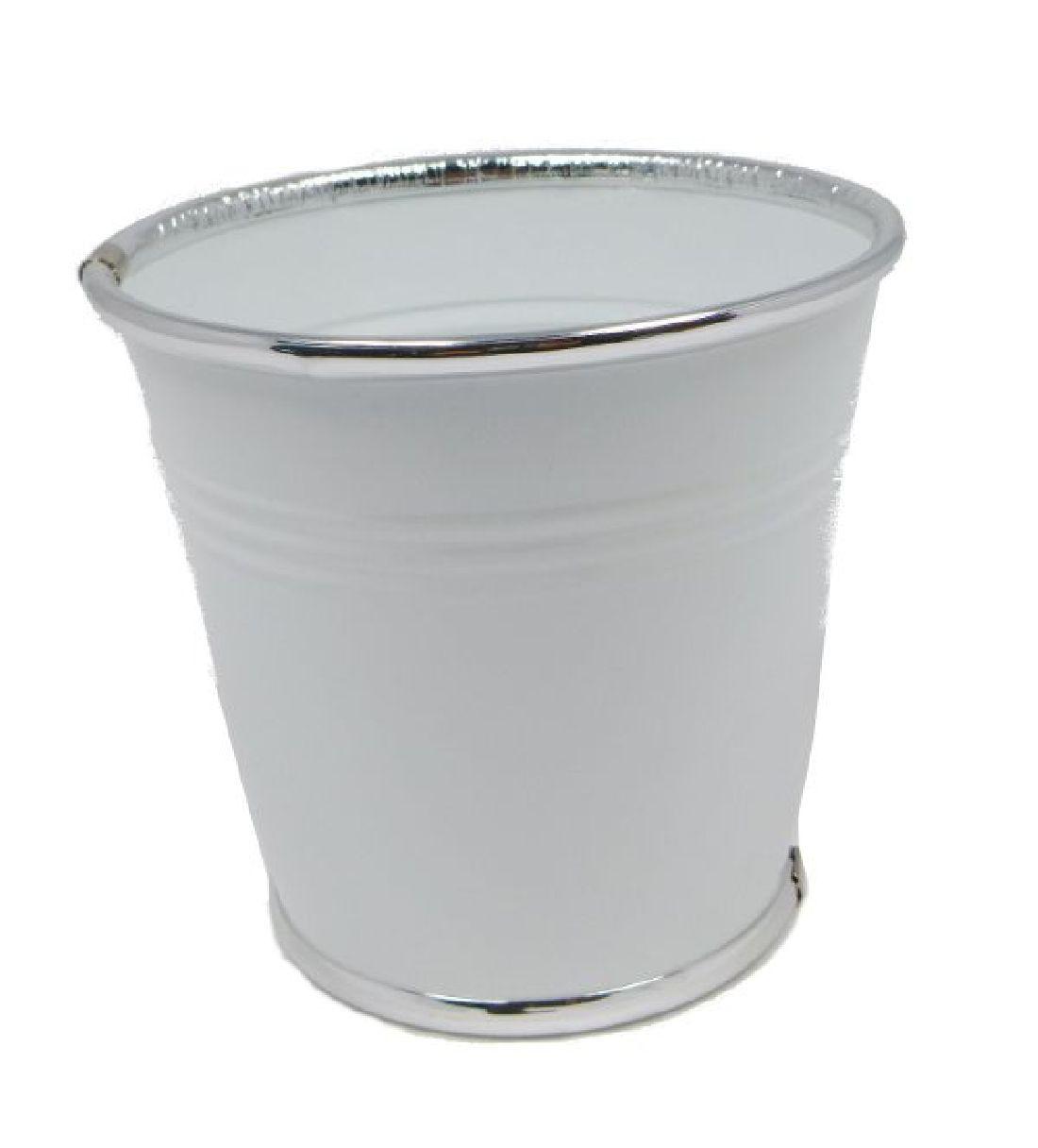 Topf Minio WEISS 16130 Silberrand 14,5x13x10cm Metalltopf