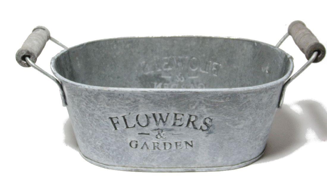 Jardiniere Flowers&Garden GRAU-WEISS  11789 18x11,5x7cm mit Henkel, Metall