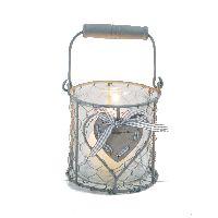Glas/Windlicht im Metallkorb GRAU 41221 mit Herz+Band 11,5x11cm/20cm mit Bügel