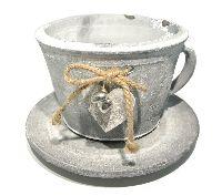 Tasse / Pflanztasse mit Herzen grau-weiß 56817016 ØTasse16xH11cm/Øges21xH13cm