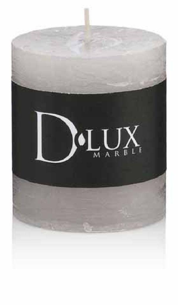 Stumpenkerze DLux durchgefärbt SILBERGRAU Alu-Sicherheitsfoli H130 Ø68 mm  handgegossen
