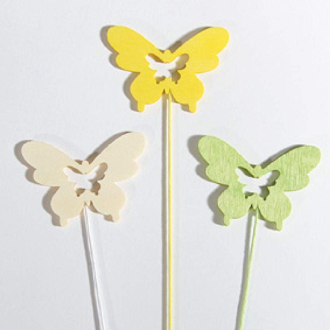 Schmetterling Woody WEISS-GELB 34844 Stecker 6cm Holz