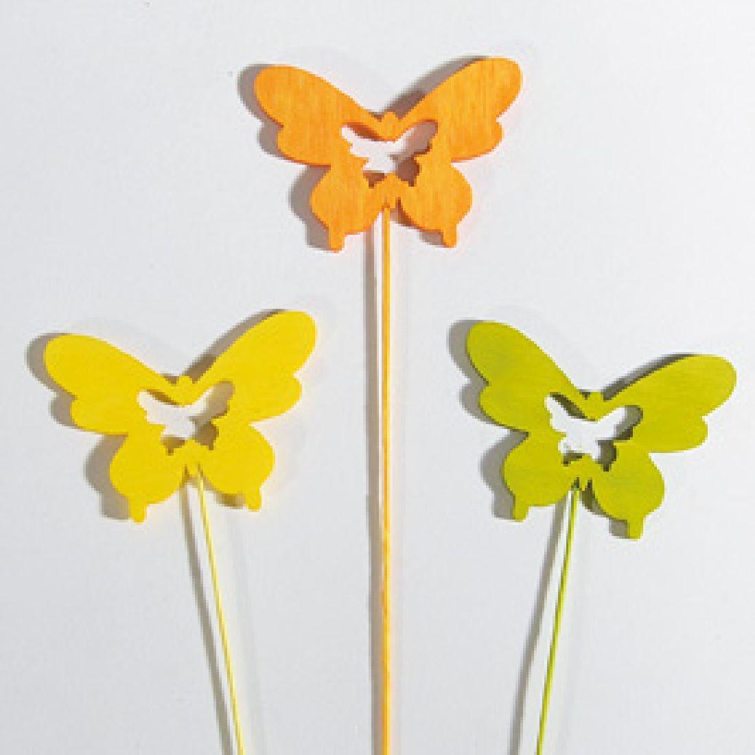 Schmetterling Woody ORANGE-GELB-GRÜN 34844 Stecker 6cm Holz