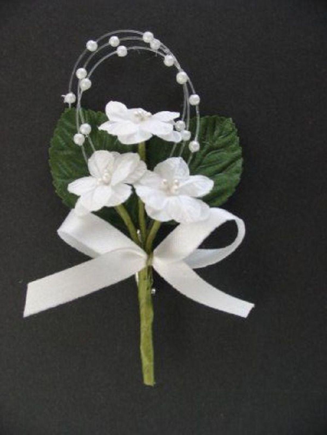 Hochzeitsanstecker Rosette WEISS 13602 Länge ca. 8,5cm mit Perlen, Schleife und Nadel
