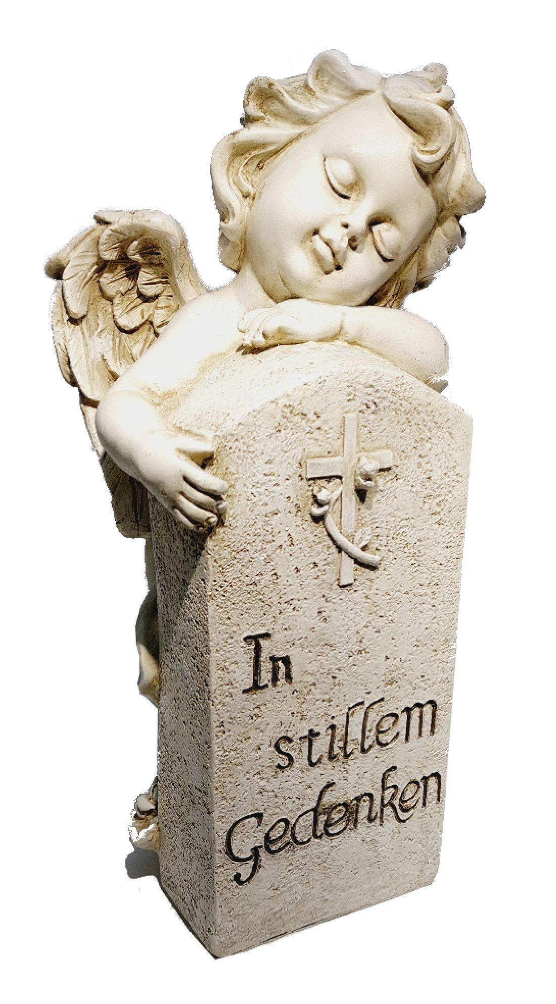 Engel am Grabstein stein-weiss  13331 mit Spruch 32,5x17x15cm