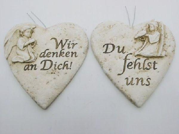 Herz mit Engel und Spruch stein-weiss 13753  10x9,5x2cm mit Draht zum Stecken 2-fach