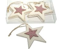 Stern mit Karostern WEISS-ROT  13221 Hänger  12x0,6cm