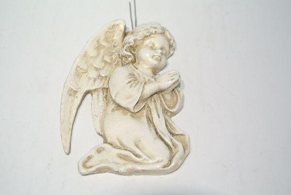 Engel mit Draht zum Stecken stein-weiss  13333 10,5x7x1,5cm
