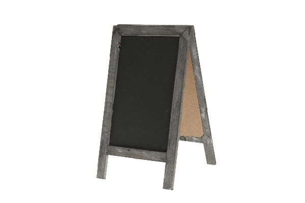 Tafel zum Stellen / Standtafel GRAU-SCHWARZ  11094 18x32cm  Holz