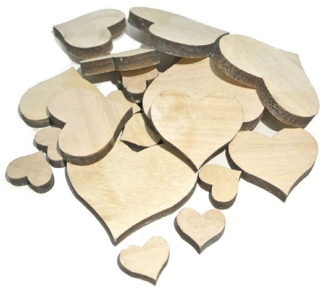 Streusortiment Holz-Mix NATUR 10-0558 5x7cm (2,5-7cm) Herz-Mix 20Stück 9x2,5cm6x5cm