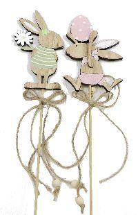Hasenstecker Softi ROSA-GRUEN mit Dekor 13cm Holz 66517