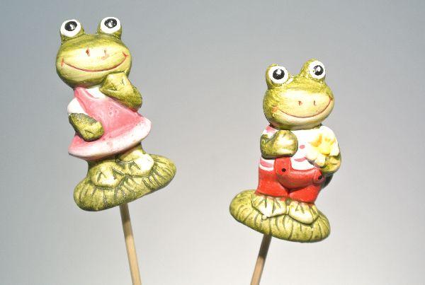 Froschstecker Paar BUNT 14431 6cm L=26cm 2-fach Keramik