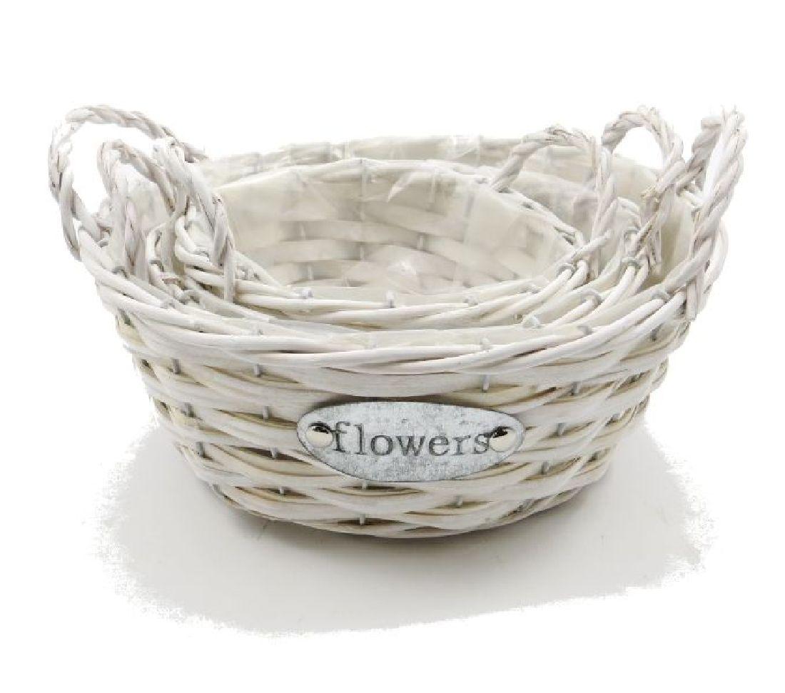 Korb Flowers Weide WEISS 15913 Ø21,5 H8cm Set rund S/3 Ø27 H10cm / Ø17 H9cm