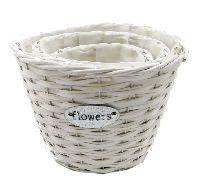 Korb Flowers Weide 15912 WEISS Ø22 H18cm Set rund S/3 Ø27 H20cm / Ø17 H15cm