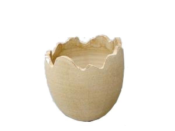 Ei gebrochen Keramik BRAUN-SCHLAMM RUSTIKAL 10,5x12cm 81140