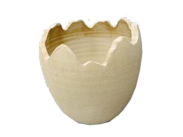 Ei gebrochen Keramik BRAUN-SCHLAMM RUSTIKAL 14,5x16cm 81142