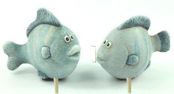 Fischstecker BLAU 15275 7,5x4x20,5cm Keramik 2-fach