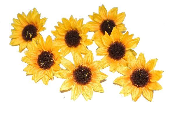 Sonnenblumen Streu GELB 14660   48 Stück 3,5cm Sonnenblumenköpfe