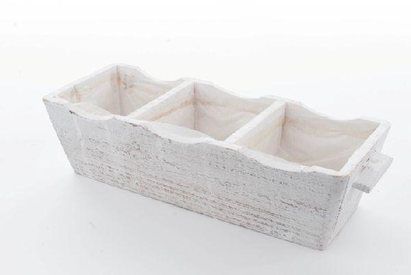 Holz Pflanzbox 3er WHITE-WASH 95358 35x12,5x9cm