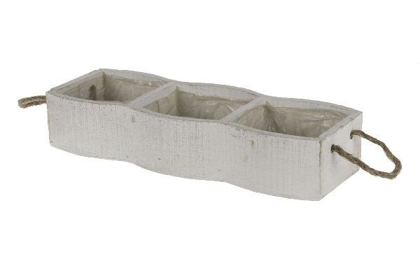 Holz Pflanzbox 3er WHITE-WASH 14692 mit Kordelgriff 32x11x6cm