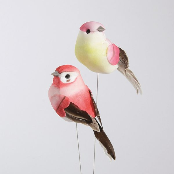Vogel Spatz ROSA-WEISS 2-farbig 10x4cm 37005