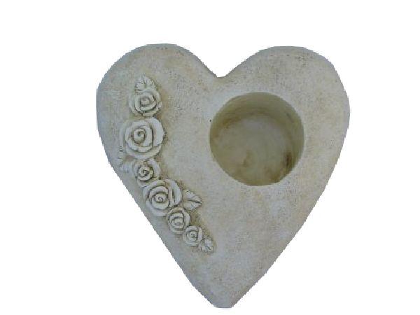 Pflanzherz mit Rosenranke stein-weiss 13708 25x25x10,5cm