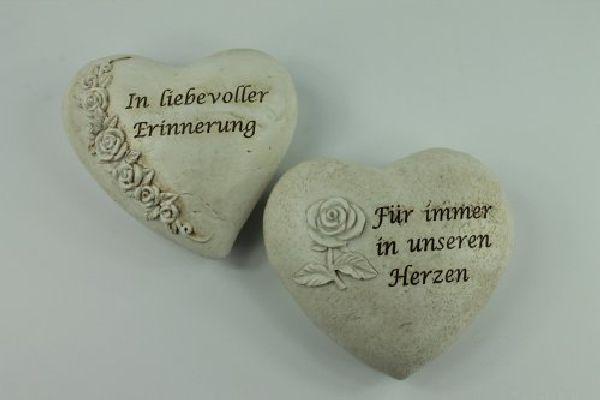 Spruchherz Erinnerung mit Rose stein-weiss 13722  Polyresin 11,5x10x4,5cm
