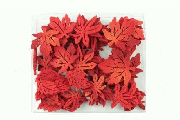 Herbstlaub Filz ROT 34234 Inhalt: 72Stück 3-fach sortiert 3-4cm