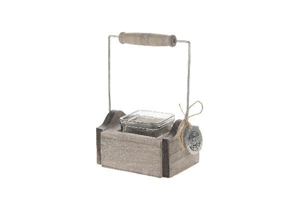 Holztragerl mit Glas GRAU-WASHED 11,5x11,5x5cm 12729