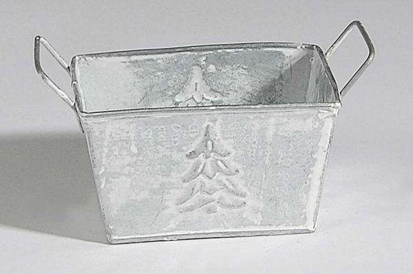 Metalljardiniere Winterday WEISS-GRAU 78681 12,5x8,5x7cm